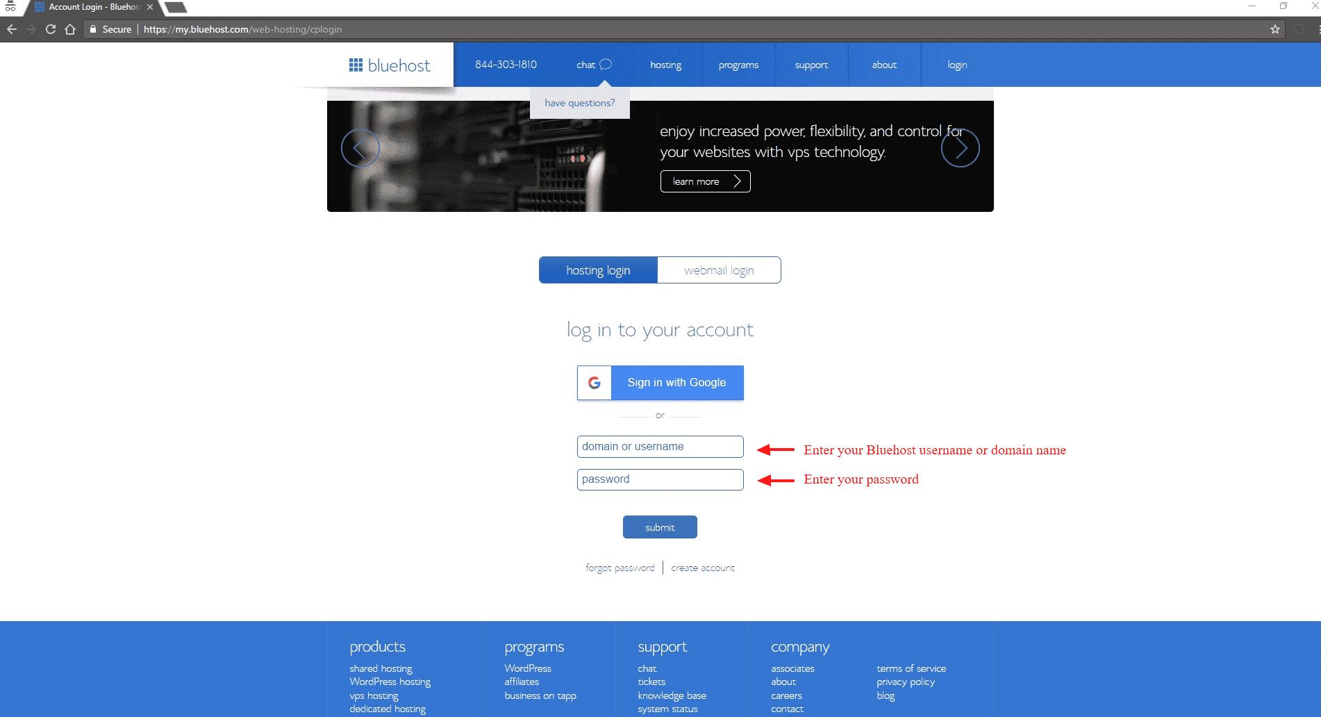 Manual WordPress installation guide - Bluehost login