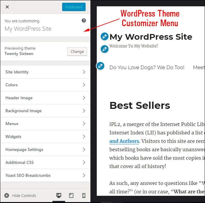 WordPress Theme Customizer Menu