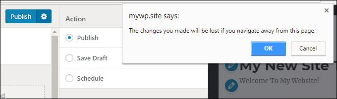 WordPress Theme Customizer 'exit without saving' prompt