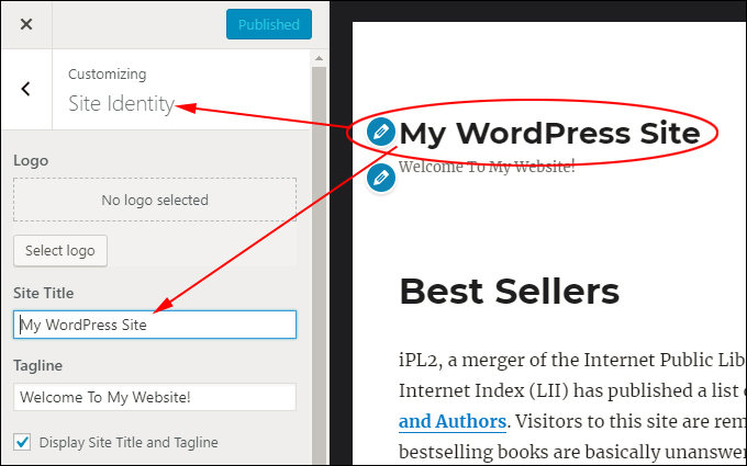 Edit WordPress theme elements in live preview mode