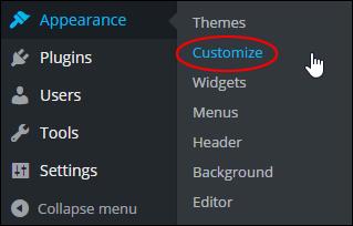 WordPress menu: Appearance > Customize