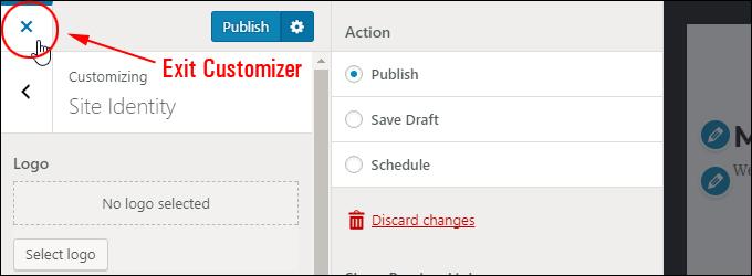 Exit WordPress Theme Customizer