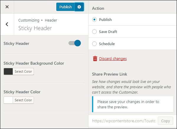 Publish your theme changes live, as a draft, or schedule for later