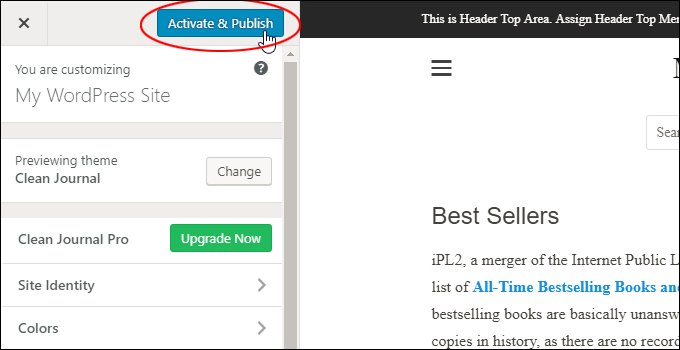 Click 'Activate & Publish' to change your active WordPress theme