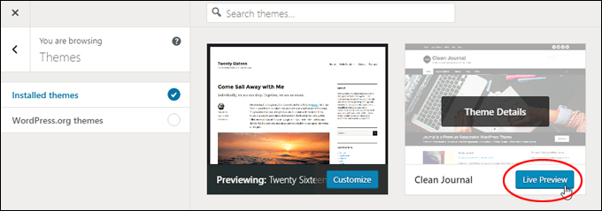 Installed themes - Live Preview