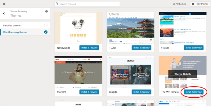 Install & Preview new WordPress themes