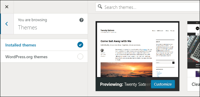 Select a new theme from your installed WordPress themes