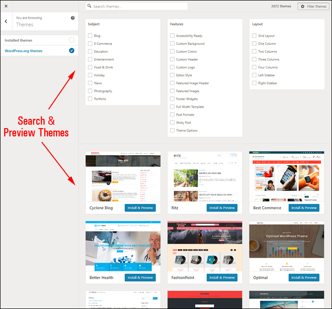 Search & Preview WordPress Themes From The Customizer