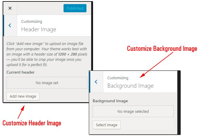 Customize WordPress Header and Background images