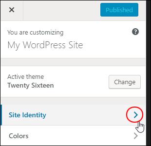 WordPress Theme Customizer - Site Identity
