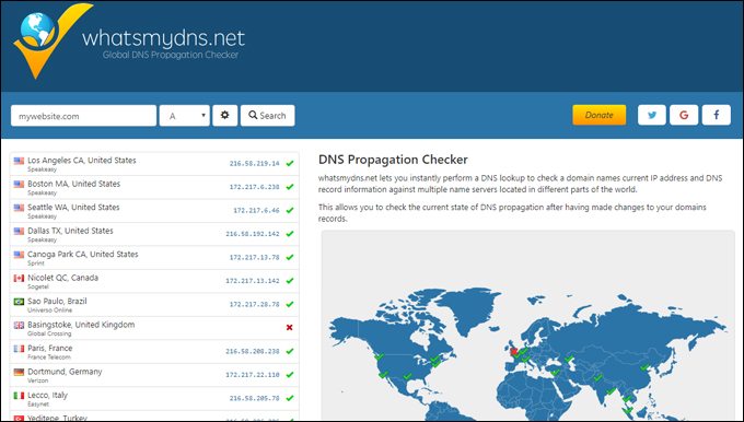 What's My DNS - Global DNS propagation checker tool
