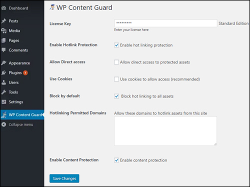 WP Content Guard - Settings Screen