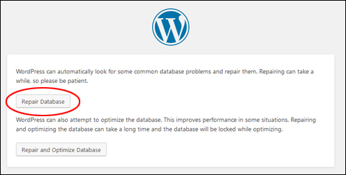 WordPress Database Repair screen