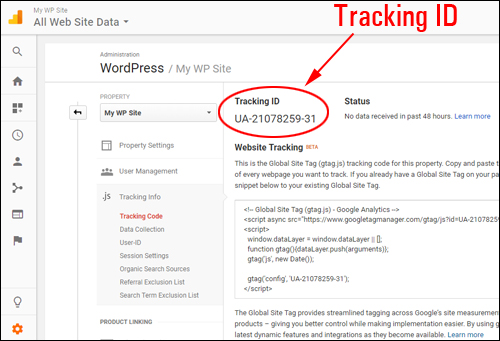 Google Analytics generates a unique Tracking ID for your website