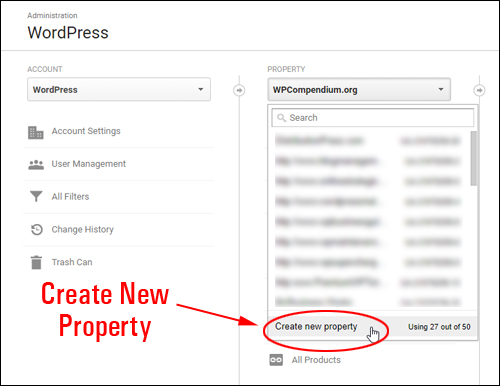 Google Analytics - Create new property