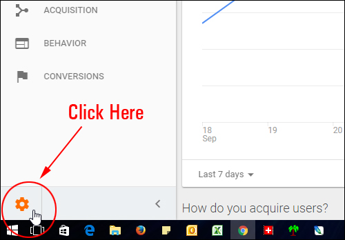 Click to access Google Analytics Admin section