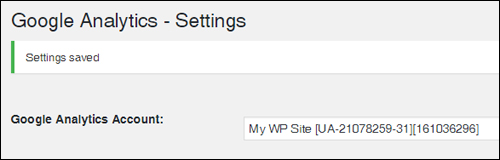 Google Analytics settings saved