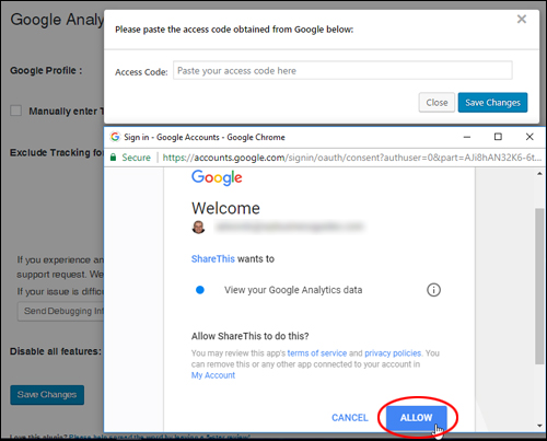 Allow the plugin to access your Google Analytics data