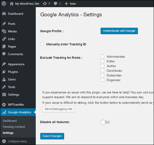 Google Analytics - Settings screen
